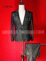 Большие размеры; черный золото Bronzing сверкающими Для мужчин пиджак Тонкий брюки ночной клуб бар ds dj певец шоу на сцене Мода костюм комплект