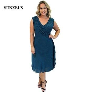 V Neck Blue Chiffon Mother of the Bride Dresses Tea-Length Pleats Simple Elegant Formal Evening Dresses suknia wieczorowa SMD84