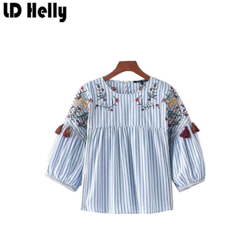 LD Helly Femmes Doux Bleu Floral Broderie Rayé Blouse Chemises O-cou Trois Manches Trimestre Gland Femlae Shirt Tops Blusas
