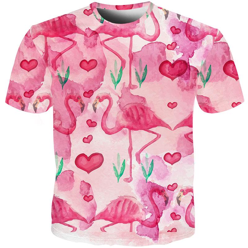 New Fashion Men//Women Flamingo Print 3D Casual T-Shirt Short Sleeve Tops Tee