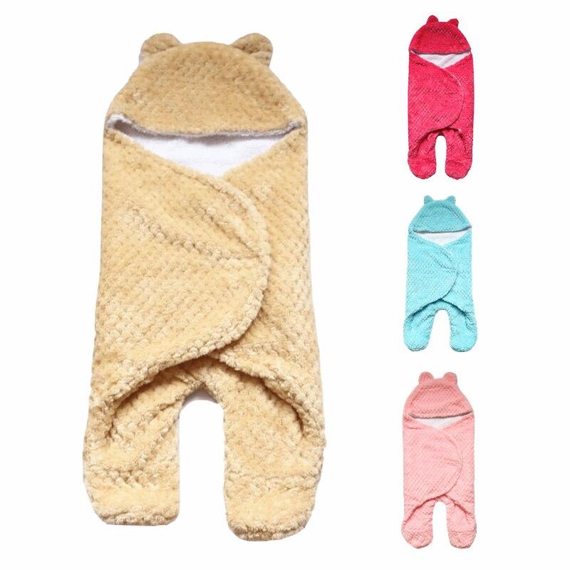 2e6e1ac9e7 Baby Blanket Envelope Swaddle Winter Wrap Coral Fleece Newborn Blanket  Sleeper Infant Stroller Wrap Toddlers Baby