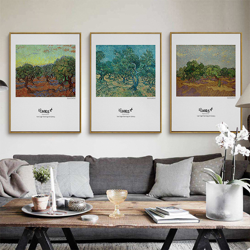 Van Gogh Olive Tree Painting Upscale Canvas Mural Poster Retro Nordic Wall Art Drawing Ornaments for Home Study Office Shop Cafe
