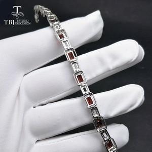 Image 5 - TBJ,925 en argent sterling éblouissant 5ct Mozambique rouge grenat haute qualité Bracelet bijoux fins pour les femmes avec boîte à bijoux