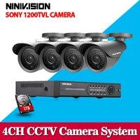 4CH HDMI DVR HD 720P 1200TVL Outdoor Waterproof CCTV Camera Home Security Camera System 4CH DVR
