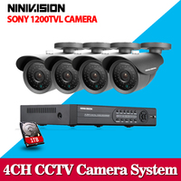 4CH HDMI DVR HD 720P 1200TVL Outdoor Waterproof CCTV Camera Home Security Camera System 4CH DVR