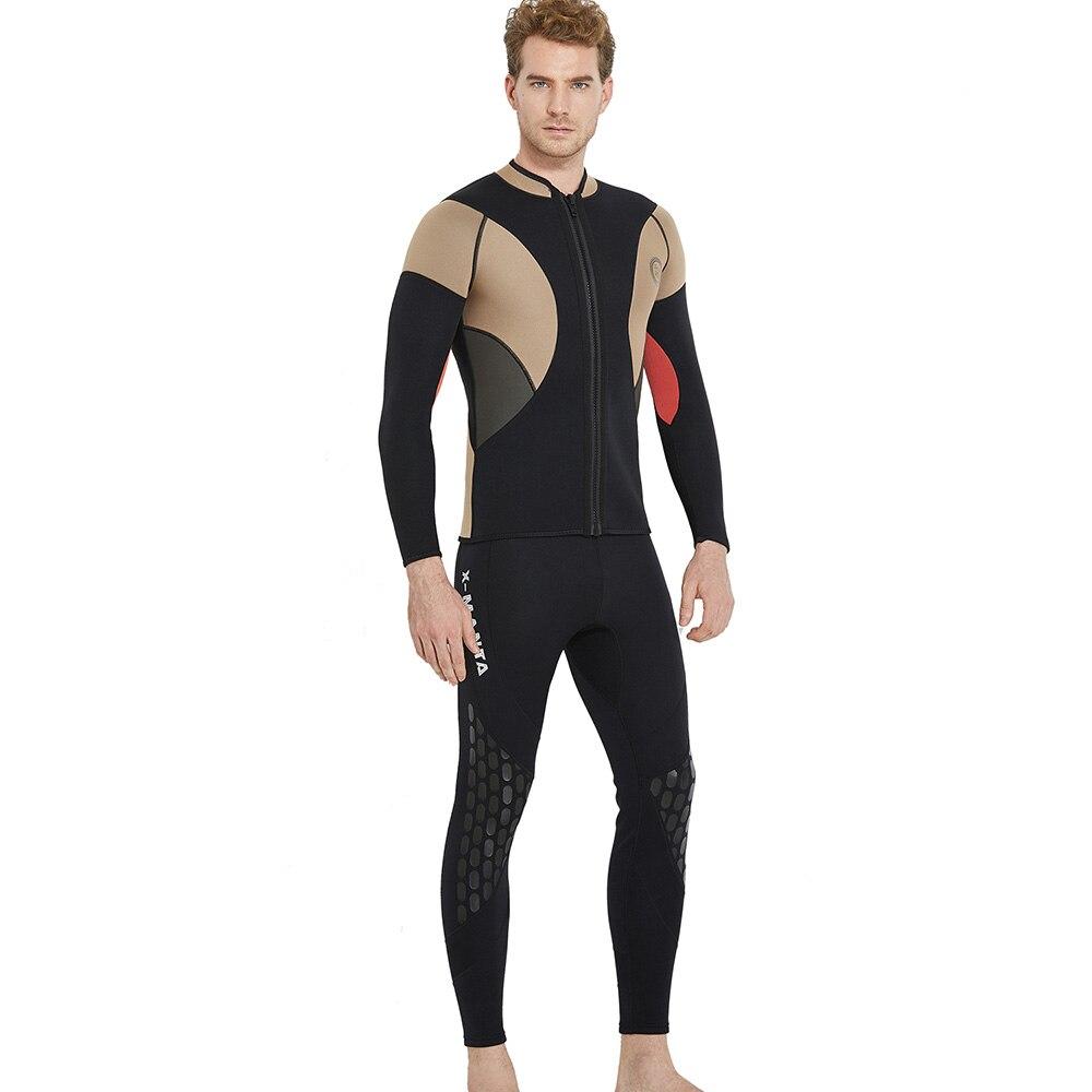 Buceo y vela de los hombres traje de chaquetas de neopreno de 3mm de manga larga mono buceo traje invierno Top nadar caliente Surf arriba