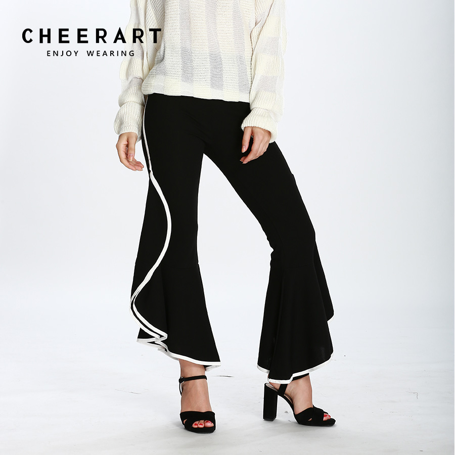 Cheerart Ruffle   Wide     Leg     Pants   Black Trousers Women High Waist Flare Ladies Winter Autumn Street   Pants   European Style