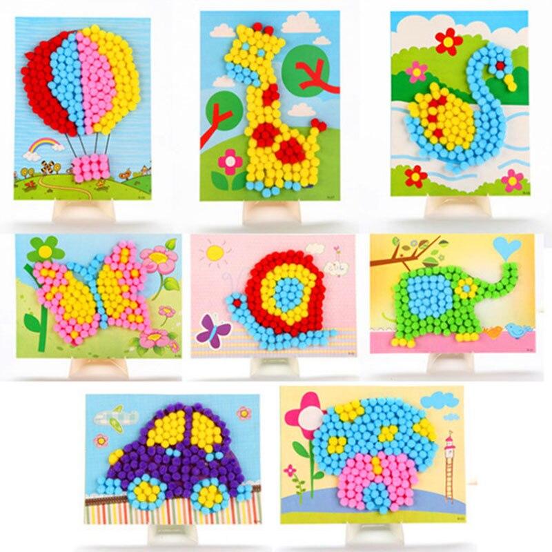 DIY Bola de Pelo adhesivo papel pintura Kindergarten Material de juguete Paquete de juguetes para niños juguetes para niñas manualidades para niños-35 3D rompecabezas de espuma segura modelo de construcción de la arquitectura Diy casa Diy Rosa encantadora casa de la muchacha MUEBLES CAMA juguetes para niños