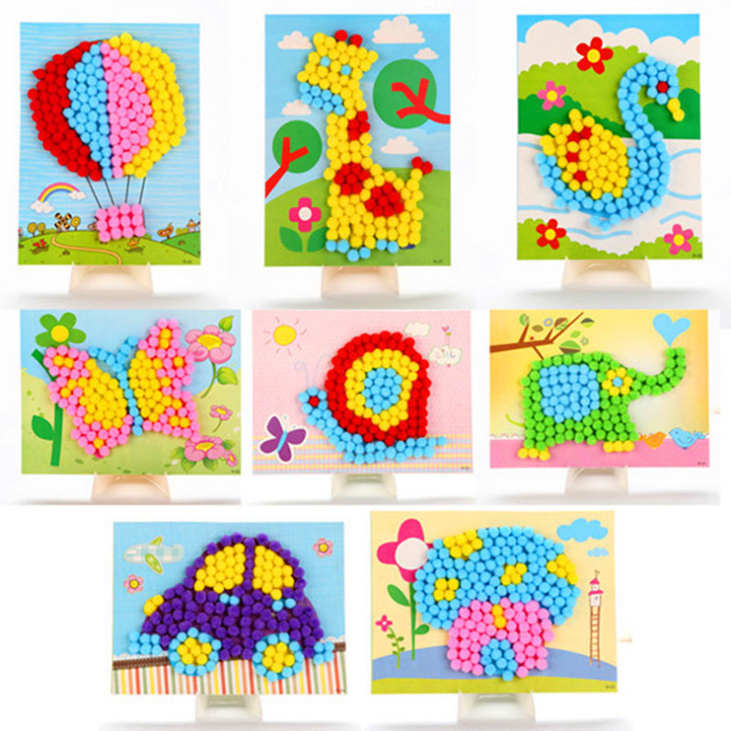 DIY Hairball Sticky Paper Painting Kindergarten Toy Material Package Children Toy Toys Girl Crafts  Kids Crafts -35