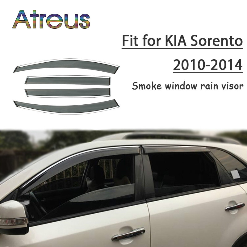 Atreus 1set ABS For 2014 2013 2012 2011 2010 Kia Sorento Accessories Car Vent Sun Deflectors Guard Smoke Window Rain Visor chrome stris window visor sun shade vent guard deflector for mitsubishi asx rvr outlander sport 2010 2011 2012 2013 2014 2015