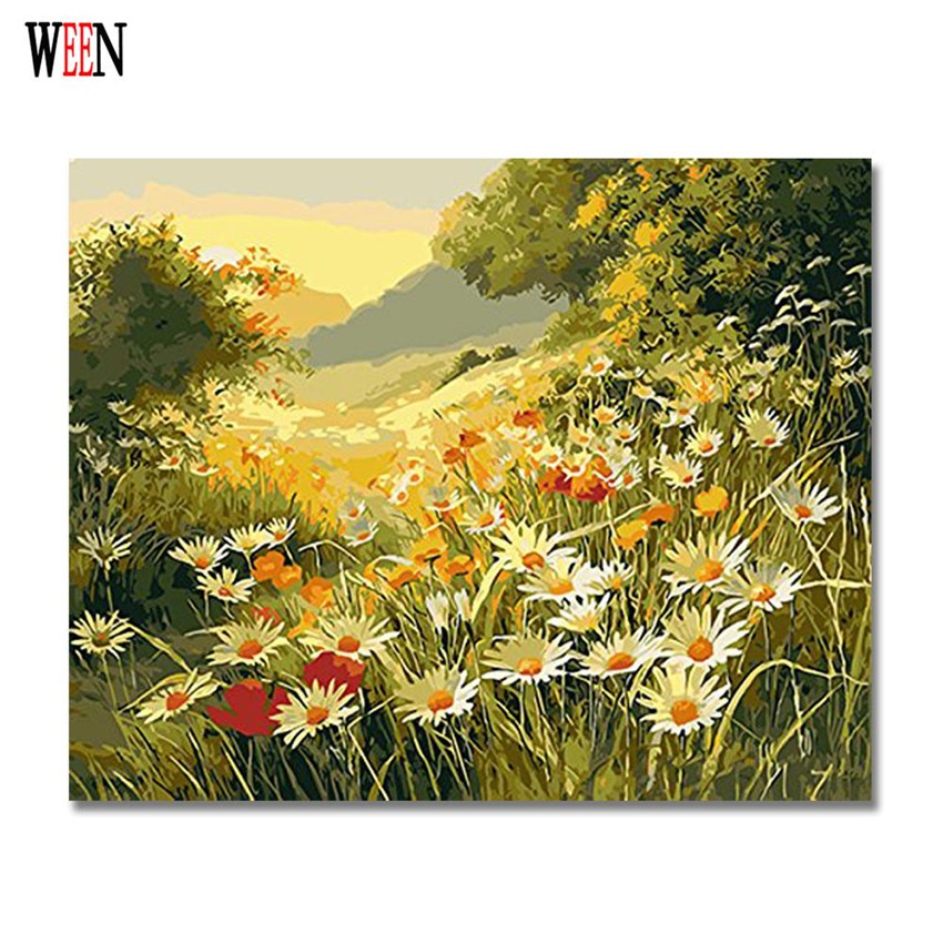 WEEN Daisy-Flower Pictures by Numbers On Canvas DIY Hand Painted Yellow Flower Cuadros Decoracion Oil Painting For Living Room
