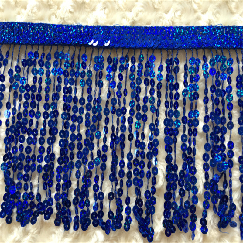 SASKIA 10Yard 16CM Wide Sequin Paillette Embroidery Tassel Fringe Trim African Lace Sew Dance Dress Curtain Accessories GOLD in Lace from Home Garden
