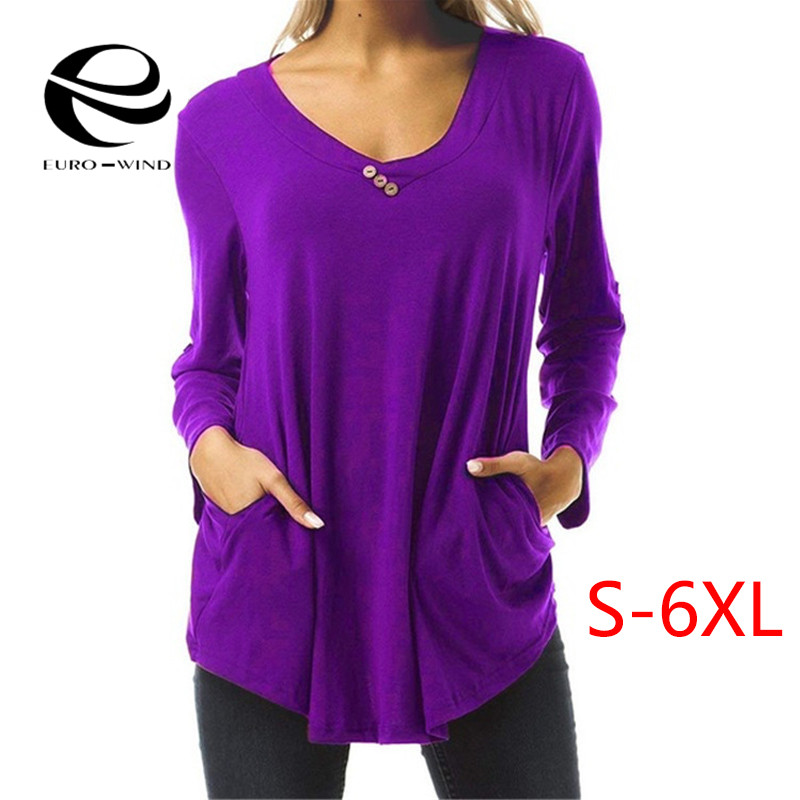 Plus Size 6XL Women Tops and   Blouse   2019 Spring Summer Elegant Long Sleeve V-neck Solid   Blouse   Female Casual Loose   Shirts   Tops