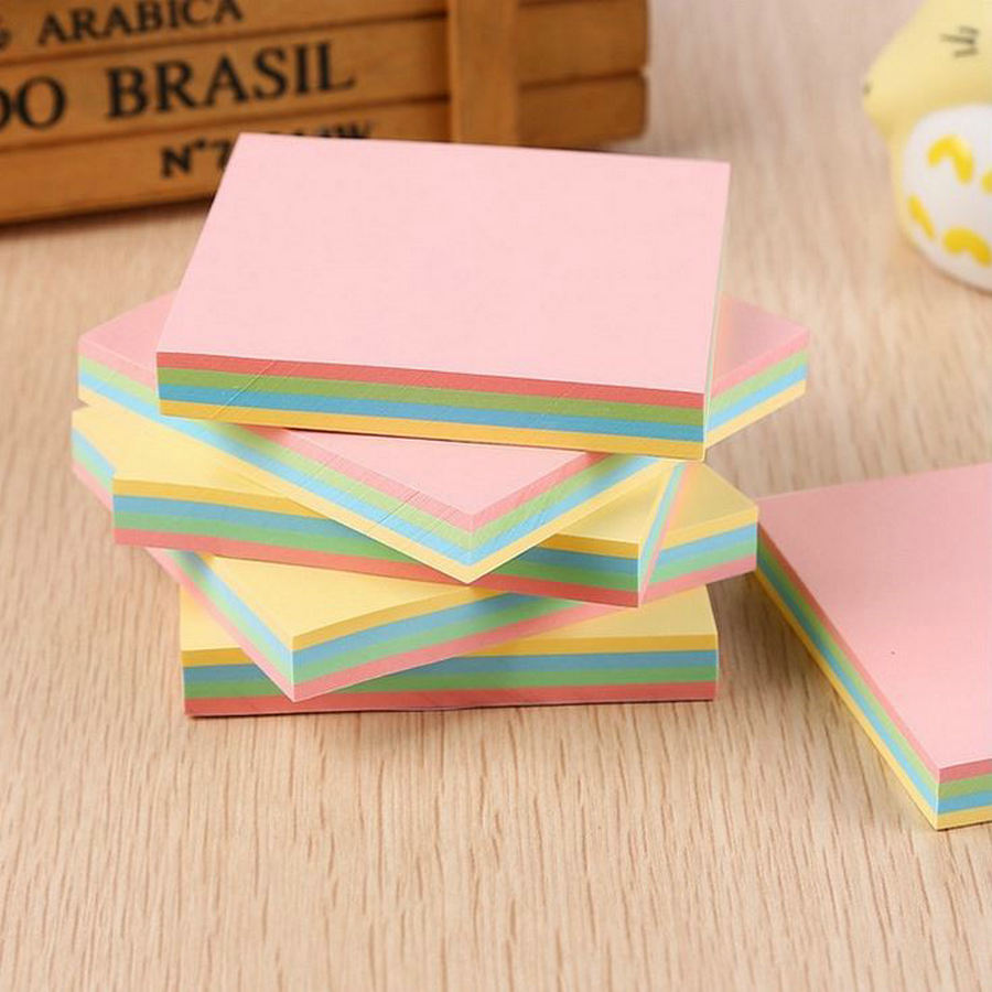 Fluorescent Paper Sticker Memo Pad Sticky Notes Post kawaii Stationery Material Escolar School Supplies Office Self adhesive