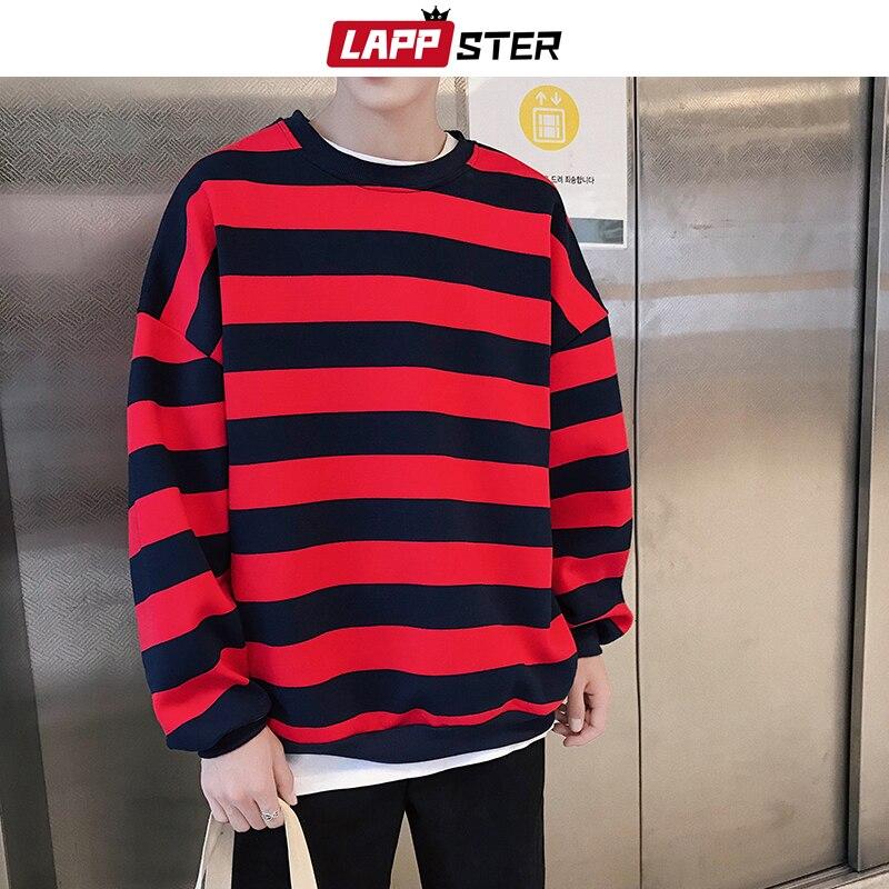 LAPPSTER Striped Harajuku Hoodies Sweatshirts Streetwear 2020 Hip Hop Men Colorful Korean Fashions Oversized Sweatshirts Hoodie