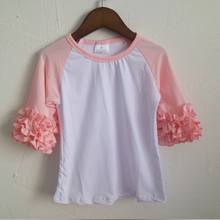 pink icing ruffle t-shirts Saint girl t-shirts kids wholesale icing shirts