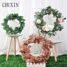 Green Artificial flower Eucalyptus leaves wreath silk artificial flower garland home  decoration wedding photography props 1pc