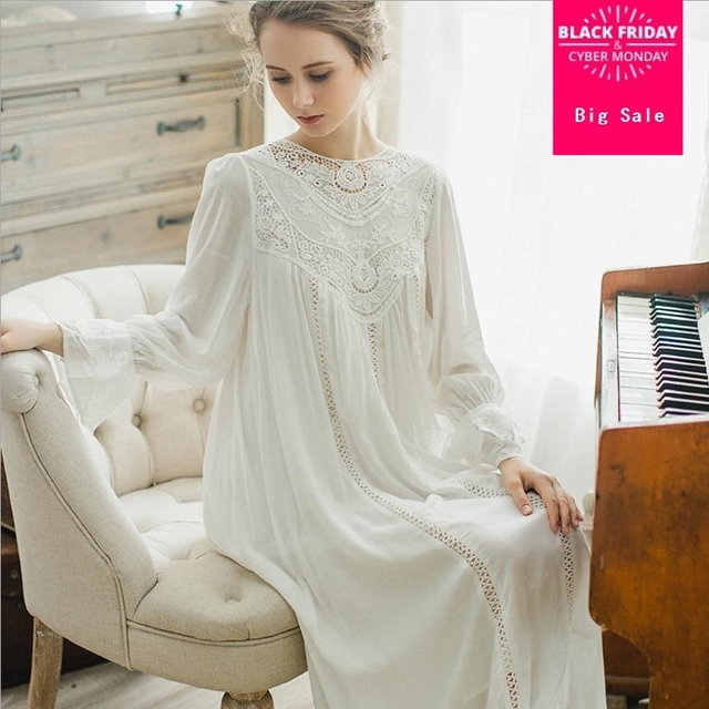 French romantic nightdress 2018 soft Cotton nightgown female long sleeves  lace palace retro elegant princess sleepwear L678 6ce320a67
