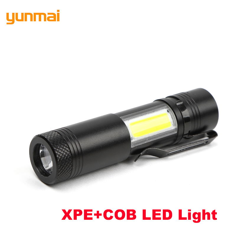 LED XPE+COB Mini Flashlight Hard Light Handy Penlight 4 Modes Switch Pocket Torch Hike Camping Flash Torch Zamlamp COB Lanterna ...