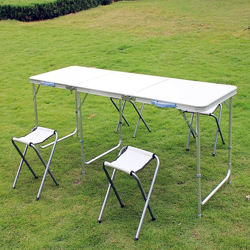 Mueble Folding Dining Table Outdoor Aluminum Alloy Tables Loading 25kg with Umbrella Hole Dining Room Sets 180cm length aluminum alloy portable outdoor tables garden folding desk with waterproof oxford cloth