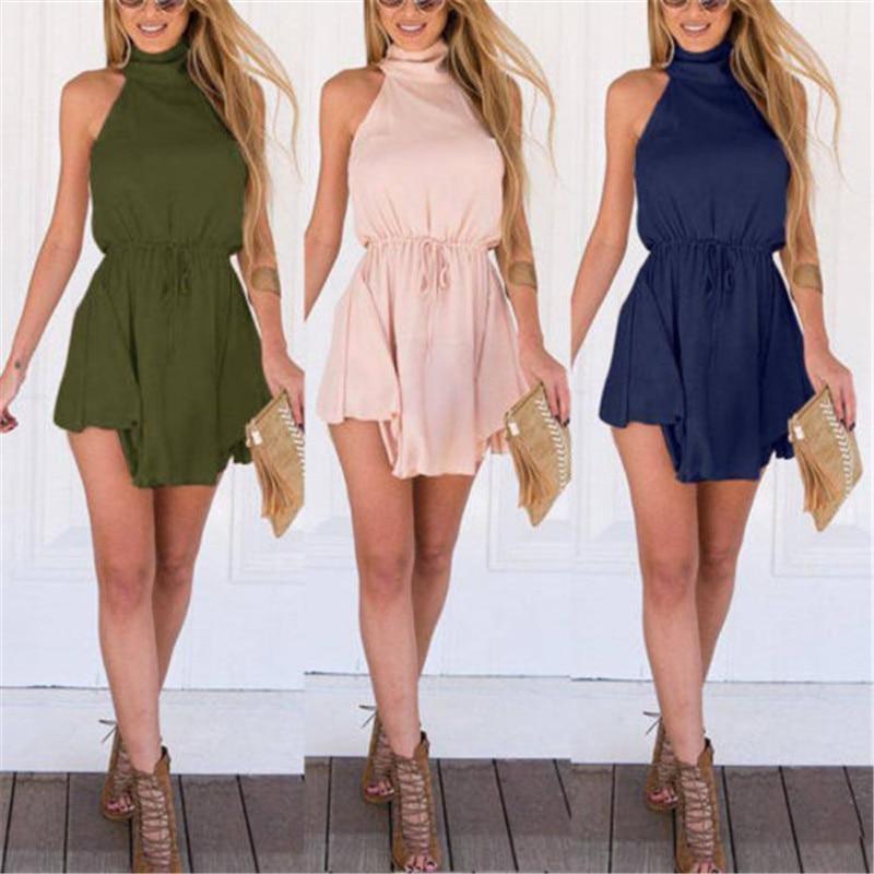 6422c5385 Mujeres verano Casual Sexy Mini vestido de cóctel del Club Vestidos cortos  sin mangas Collar de vacaciones Backless Frill Hem Beach vestidos en Vestidos  de ...