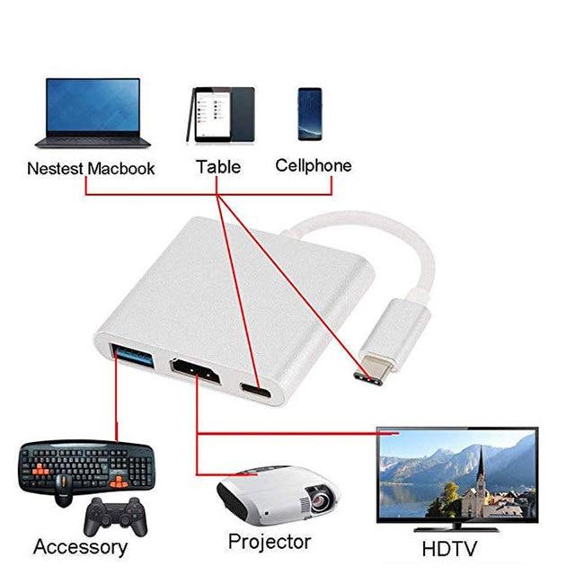 Uosible Thunderbolt 3 Adattatore USB Tipo C Hub a HDMI 4K supporto Samsung Dex modalità USB-C Doce con PD per MacBook Pro/Air 2019 4