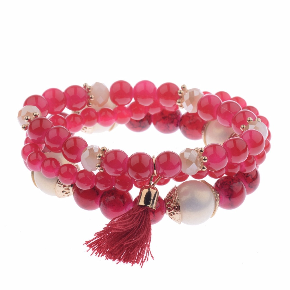 NEW Spring Summer Fashion Womens Bracelet Set 3Pcs//Lot Charm Beads Bracelet Jewelry For Ladies HXB002
