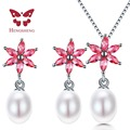 HENGSHENG Simple Design Genuine Natural Freshwater Pearl Pendant Necklaces& Earrings Sets Pure Chain Women