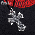 Beier new store 100% 925 thai silver sterling cross pendant necklace fashion jewelry men/women free give rope  A2080