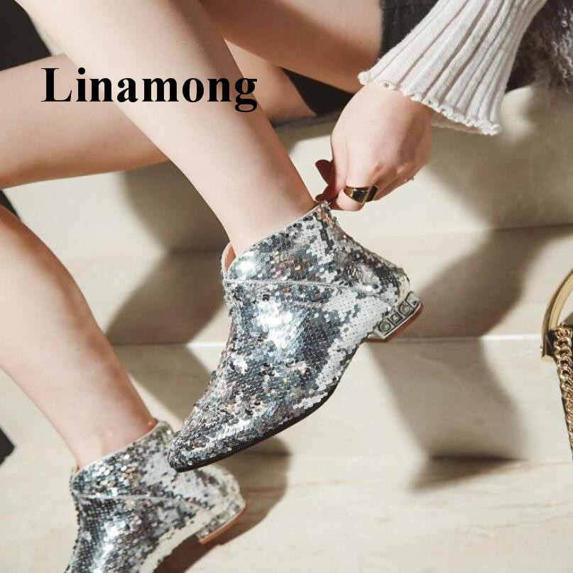 2018 Fashion Bling Bling Sequined Cloth Autumn Winter Rear Zipper Sexy Pointed Toe Flats Solid Women Ankle Boots Three Colors2018 Fashion Bling Bling Sequined Cloth Autumn Winter Rear Zipper Sexy Pointed Toe Flats Solid Women Ankle Boots Three Colors