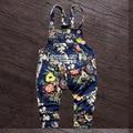2016 горячая распродажа весной и осенью девочки с бантом джинсовой нагрудник брюки, Хлопок джинсовые младенческой комбинезон комбинезоны джинсы для девочек-младенцев