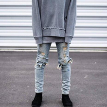 Hip Hop Hi Street for Men Kanye West Ripped Biker Jeans Skinny Slim Fit Black Denim Pants Destroyed Men Jeans