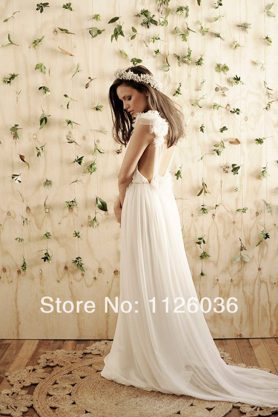 Amazing Low Open Back Wedding Dress With Sheer Straps Dreamy Silk