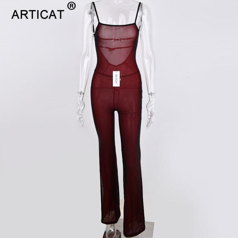 Articat Sexy Mesh Transparent Jumpsuit Women Bodysuit Spaghetti Strap Backless Bodycon Women Long Pants Party Playsuit Overalls