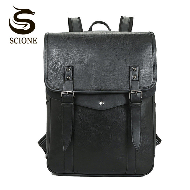Scione Men Backpacks PU Leather Rucksack Women School Bag For Teenager Black Male/Female Backpack Travel Bolsas Mochila Feminina slit back pencil skirt with strap page 9
