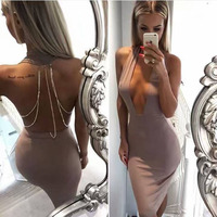 2017 New Women Sexy Open Back Beading Deep V Neck Halter Backless Knee Length Celebrity Party