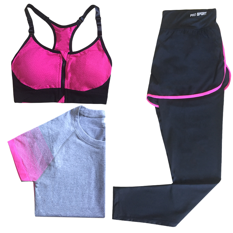 YD New Arrival 3 PCS Women's Sport Yoga Set Gym Running Sportwear Suit Fitness Yoga Clothing Workout  Fre shipping