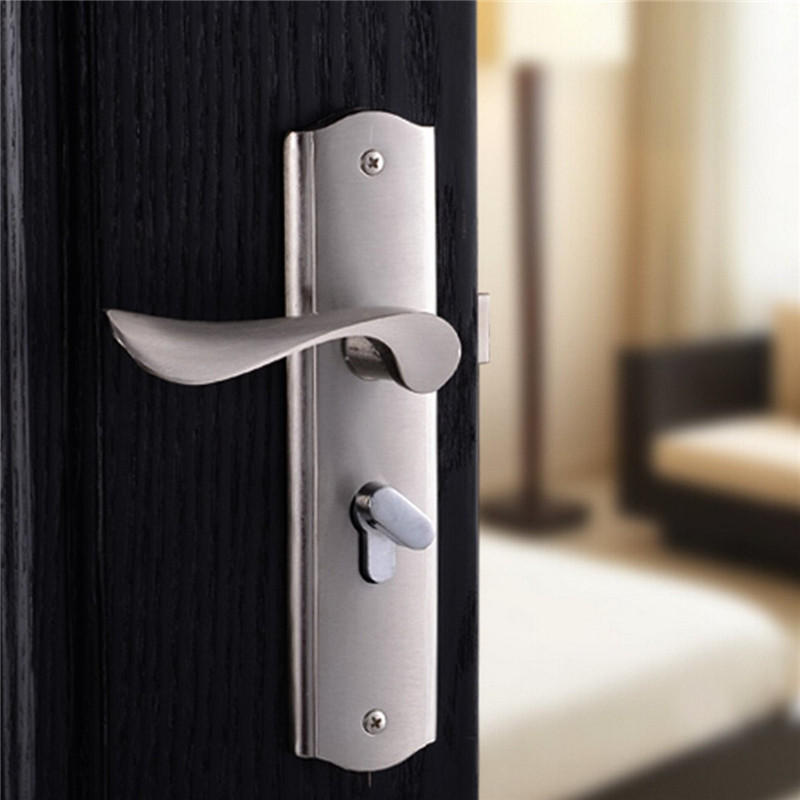 1PC Aluminum Silver Door Handle Front Back Lever Lock Cylinder Dual ...