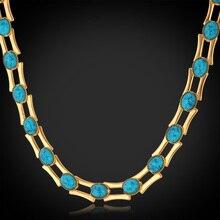 Choker collar moda para la mujer/hombre verde collares vintage joyería de moda de oro plateado collar de la turquesa n5148