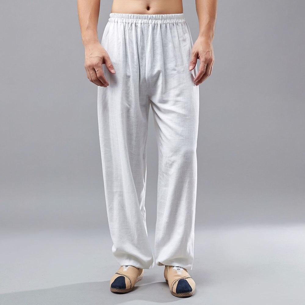 Men Cotton Linen Elastic Waist Casual Pants China Kongfu Pants Solid Color Long Trousers Joggers Plus Size