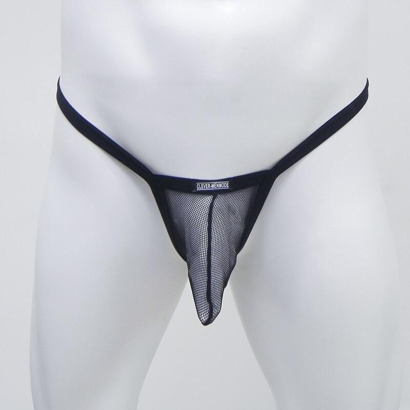 Sexy Underwear Men Mesh G String Jockstrap Thong Solid Underwear T Back Underpants Transparent Breathable Mankini Briefs