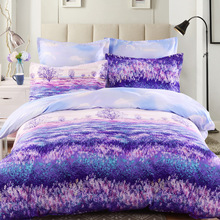 Provence Lavender Bed Set Adult 4 Pieces Bedding Set Queen King Twin Size  Pillow Cover Bed
