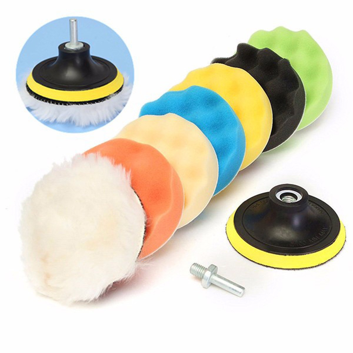 8Pcs 5 Inch Woolen Buffing Pad Auto Car Polishing Pad Kit Buffer + Drill Adapter For Car Polisher ,Electric Drill Pack spta 29pcs drill buffing buffer detail polishing polisher pad kit 5 8 11 m14 thread backing backer plate pad