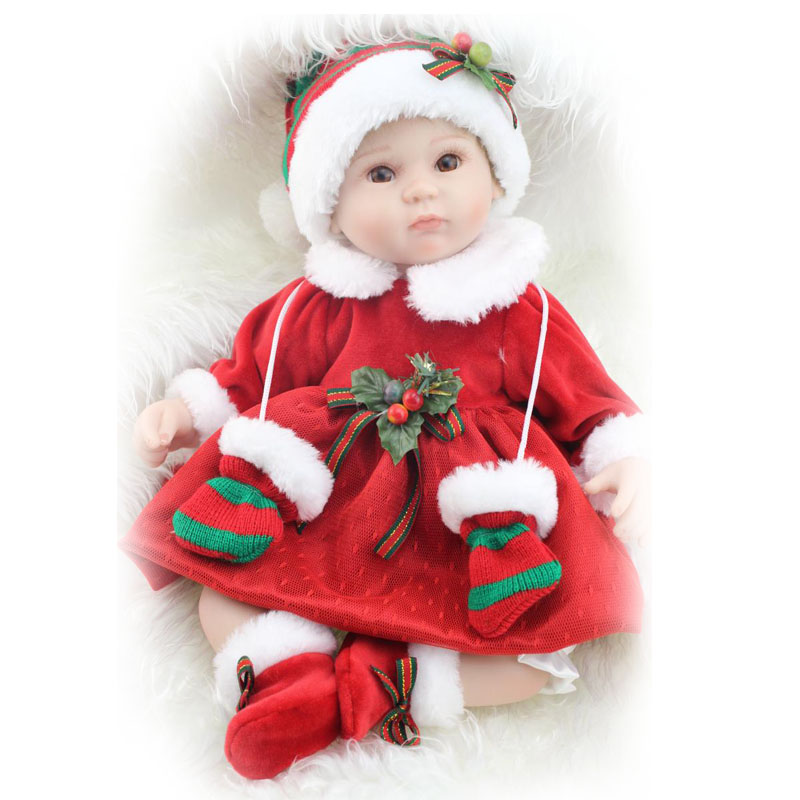 ФОТО 17 Inch Santa Claus Reborn Baby Model Doll with Hat Safe Silicone Realistic Baby Doll Kits Toys Fashion Christmas Gifts Hot Sale