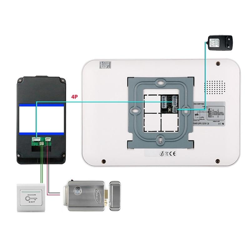 Mountainone 7 Inch Password Access Control Card Night Visual Intercom Doorbell Rain Infrared Intercom System White +Black Abs
