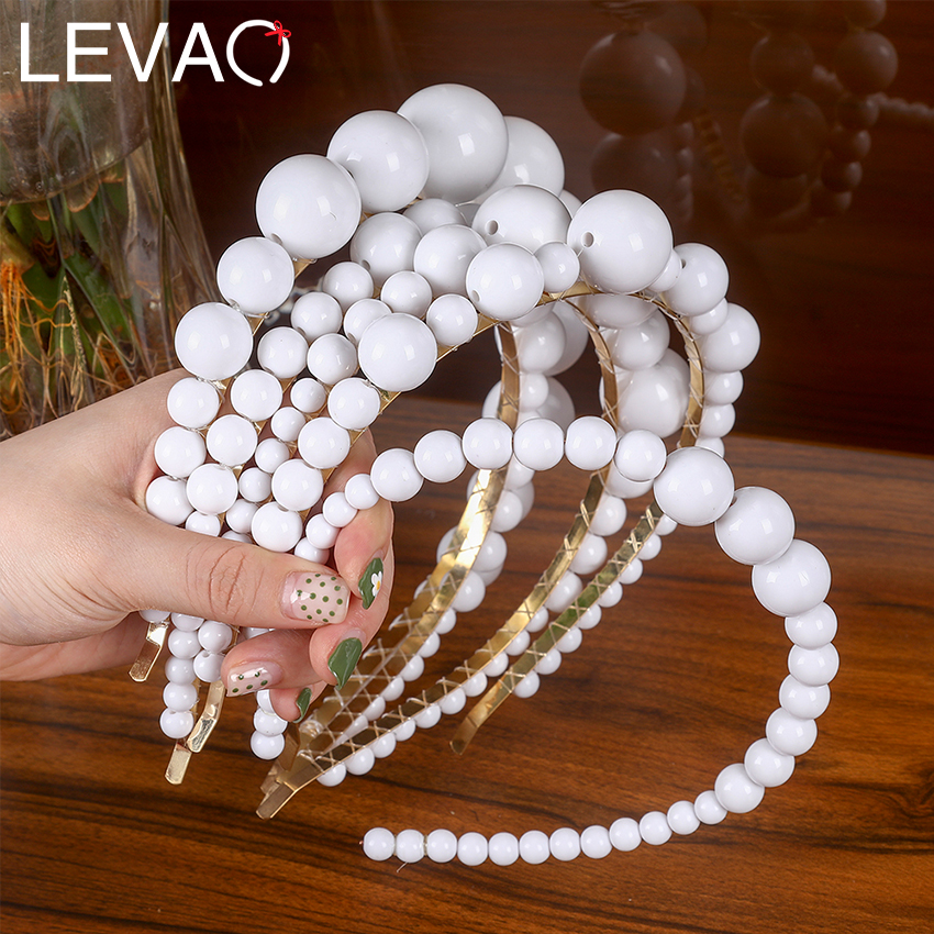 Levao 2019 Women New Hairband White Porcelain Beaded Headbands Beads Hair Hoop Girl Hair Bands Bezel For Hair Accessories