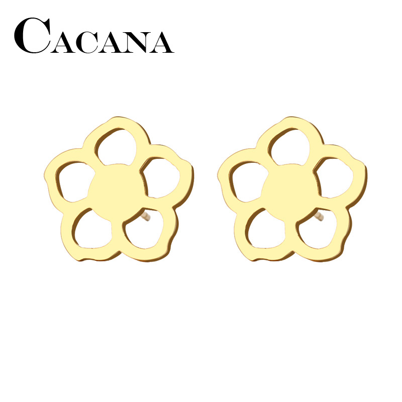 CACANA Stainless Steel Stud Earring For Women Man Flower Gold And Silver Color Lovers Engagement Jewelry Drop Shipping
