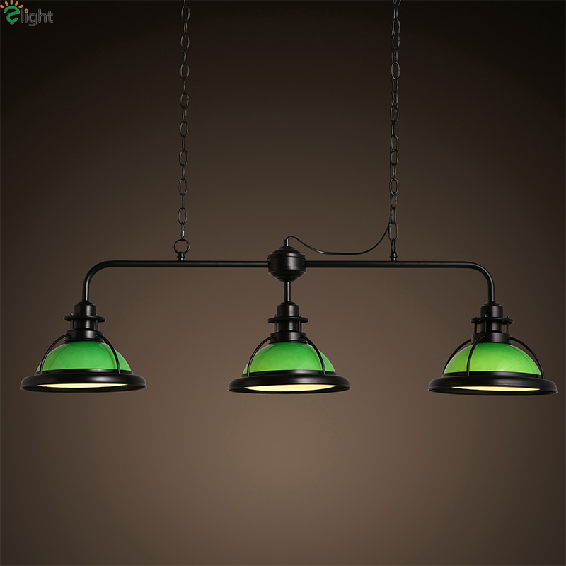 American Retro Lustre Glass Led Chandeliers Luminaria Metal Dining Room Led Pendant Chandelier Lighting Hanging Lights Fixtures