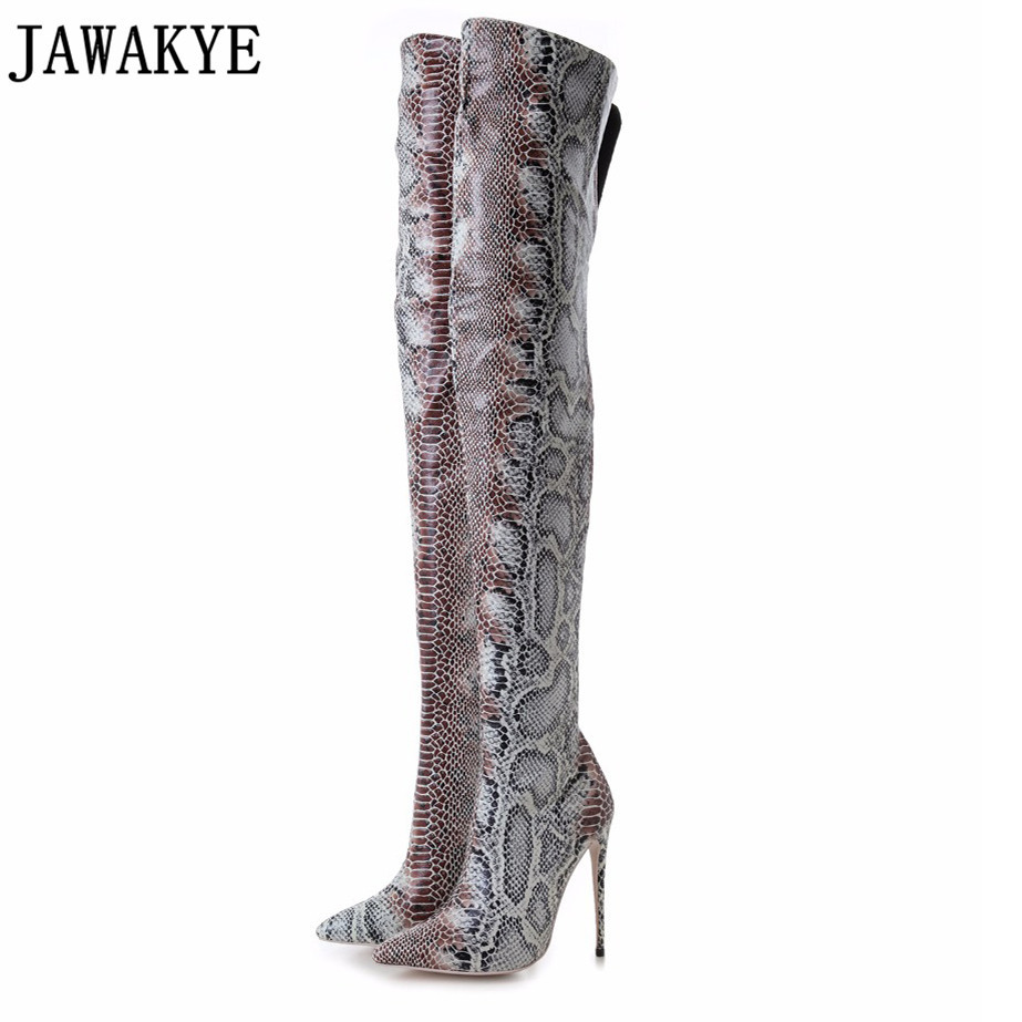 JAWAKYE Sexy Ladies Python Thigh High Boots Pointy Toe Stiletto Heels Snake Leather Long Women Boots High Heels Zip Shoes WomanJAWAKYE Sexy Ladies Python Thigh High Boots Pointy Toe Stiletto Heels Snake Leather Long Women Boots High Heels Zip Shoes Woman