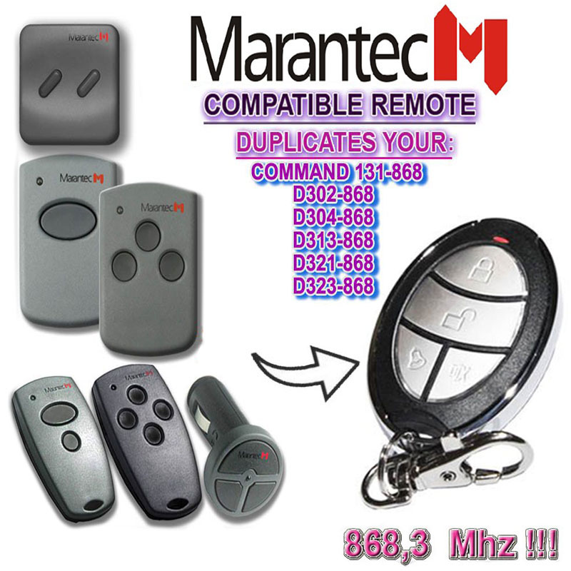 For Marantec D302-868,D304-868,D313-868,D321-868,D323-868 Duplicator Garage Door Remote 868mhz.